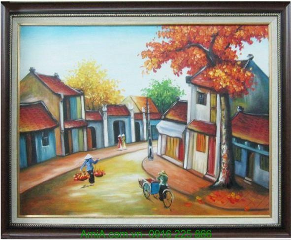 tranh phong canh Ha Noi mua thu dep