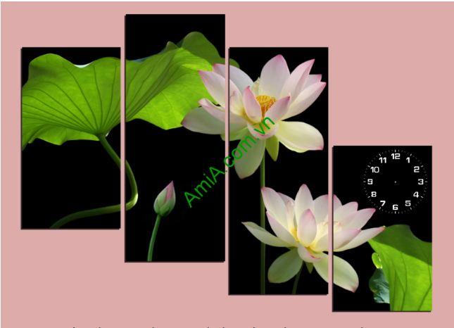 tranh hoa sen ghep bo dep
