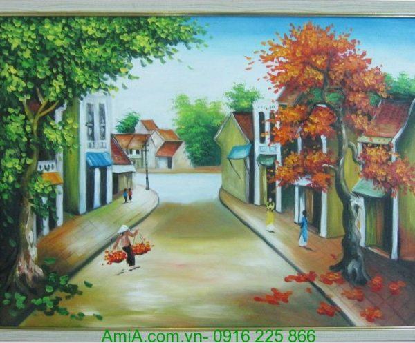 tranh phong canh ganh hang rong noi pho co