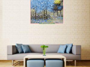 tranh phong canh ve son dau hang cay xanh ben hien nha