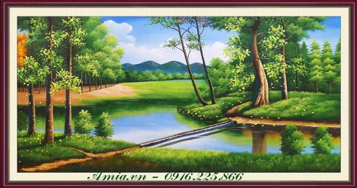 tranh phong canh thien nhien nuoc ngoai khu rung xanh