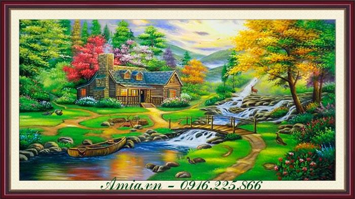 tranh ve son dau phong canh nuoc ngoai ngoi nha