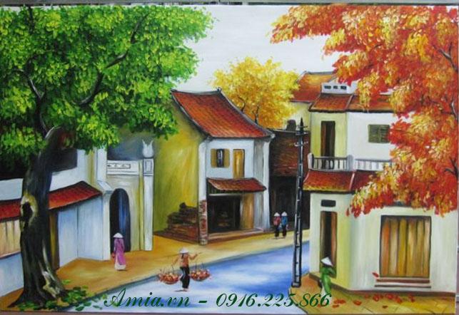 tranh phong canh pho co mua thu