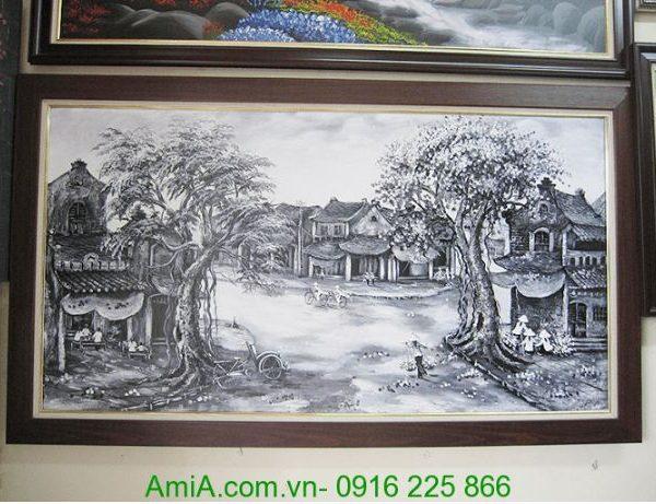 tranh ve son dau phong canh pho co den trang