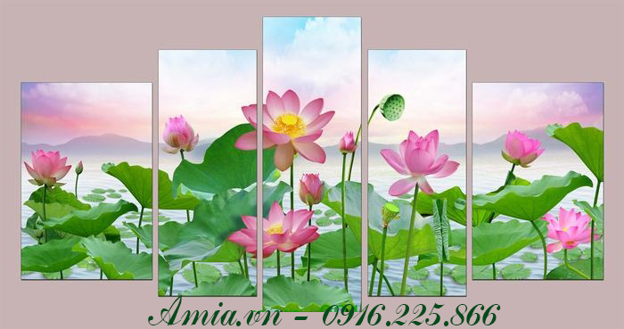 buc tranh phong canh dam hoa sen