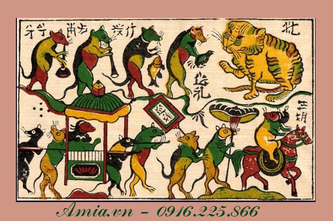 tranh phong khach cho tuoi than dam cuoi chuot