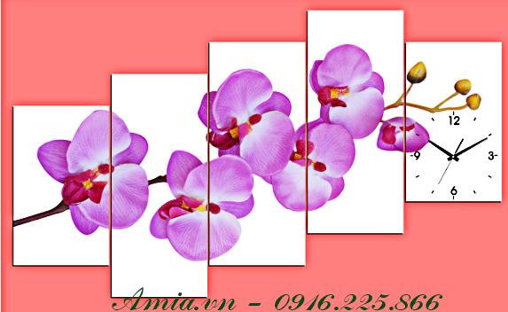 tranh hoa lan voi gam mau tim hong cho tuong them an tuong