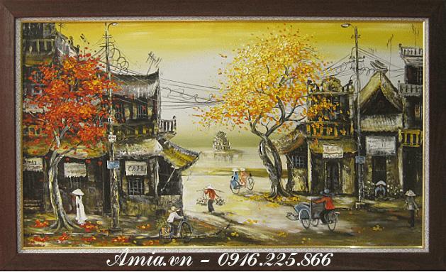 tranh phong canh pho co treo phong khach cho nguoi menh kim