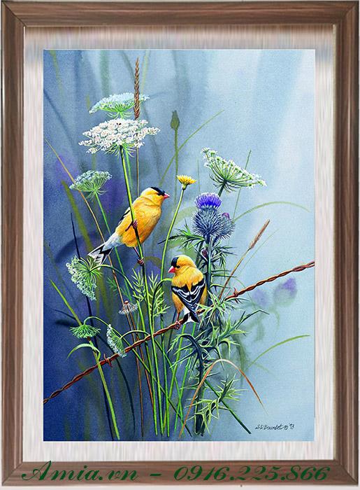 tranh treo phong khach gia re doi chim vang