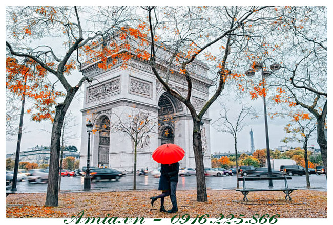 tranh phong canh paris lang man danh cho phong ngu vo chong