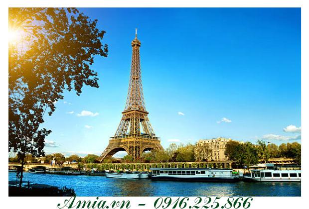 tranh phong canh thap eiffel o thu do paris