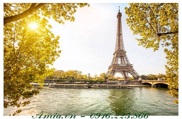 tranh phong canh paris vao mua thu lang man