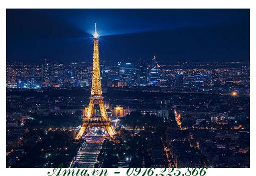 tranh phong canh thanh pho paris vao buoi dem