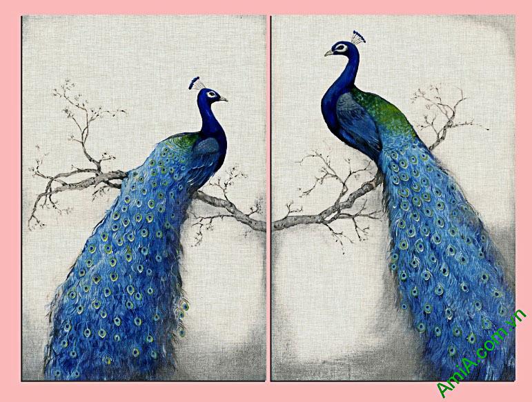 tranh treo tuong phong ngu doi chim cong