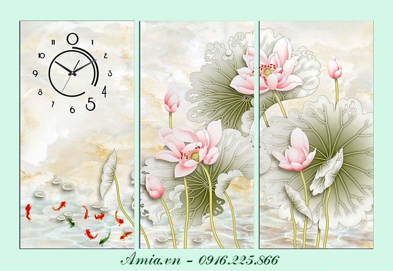 tranh phong khach hoa sen ca chep