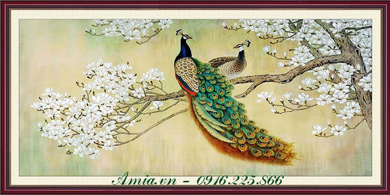 tranh treo phong ngu doi chim cong va hoa mai phong thuy