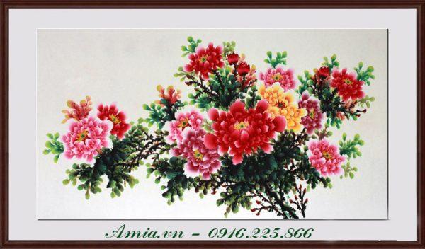 tranh dep hoa mau don trang tri phong