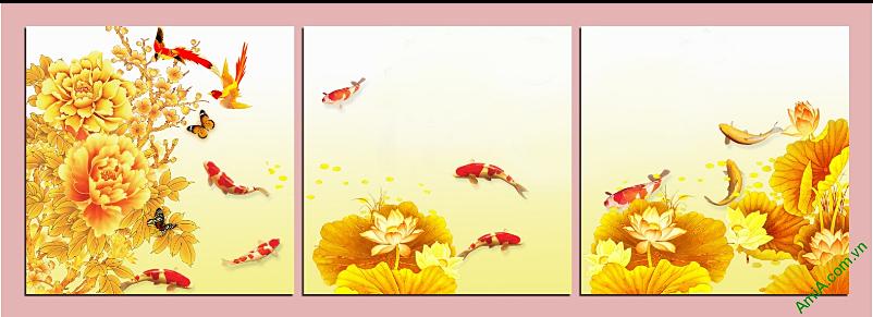 tranh ghep bo 3 tam ca chep hoa sen