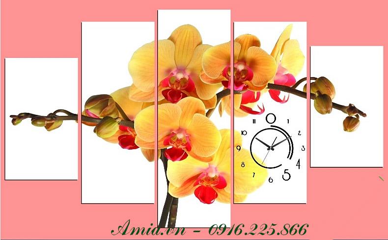 tranh hoa lan ngay tet ghep bo 5 tam trang tri