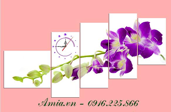 tranh treo tuong phong khach chung cu nhanh hoa lan tim