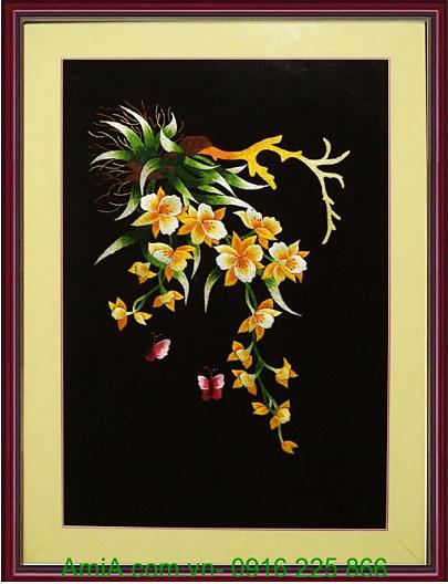 tranh theu hoa lan ngay tet trang tri phong dem lai tai loc