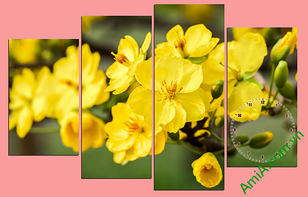 tranh tet co truyen hoa mai vang
