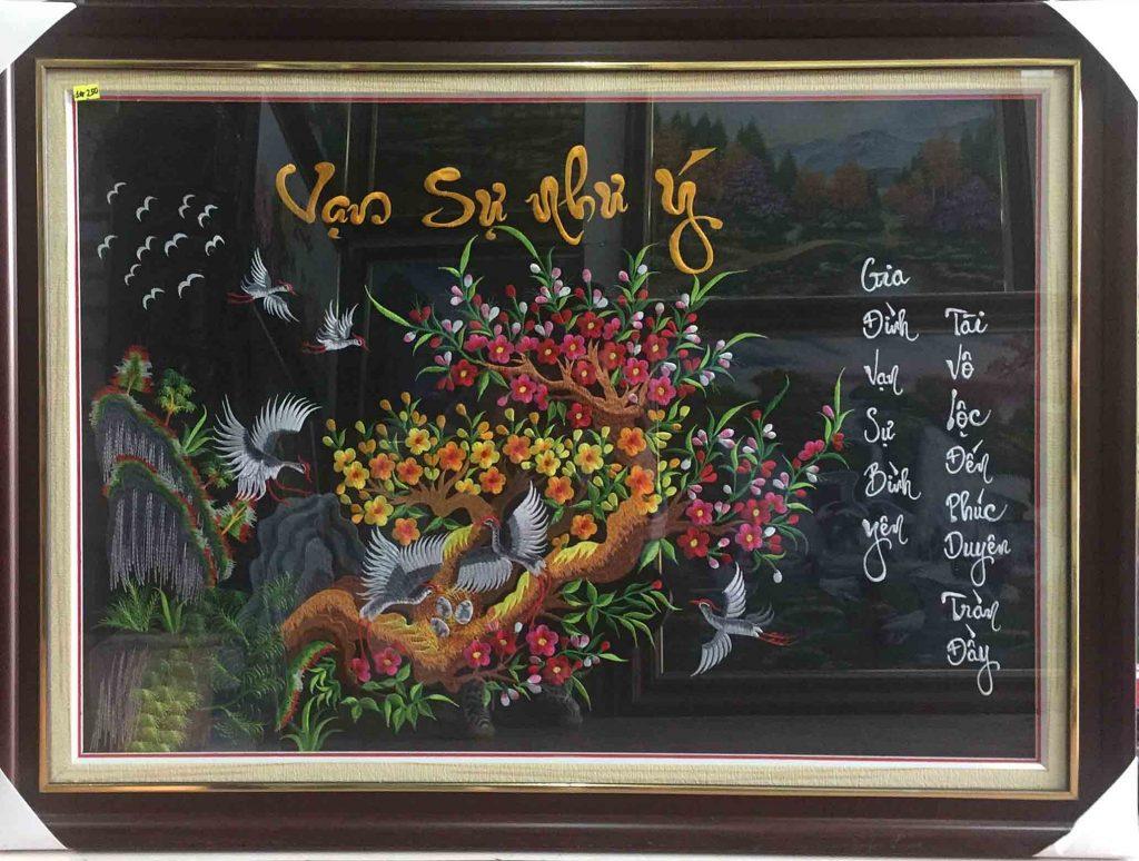 tranh theu tet hoa dao hoa mai tai loc