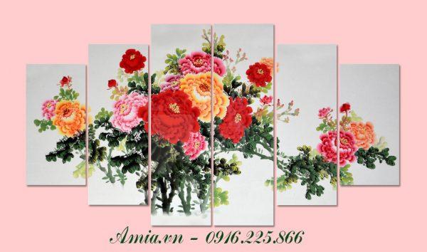 tranh hoa mau don ghep bo 5 tam trang tri phong