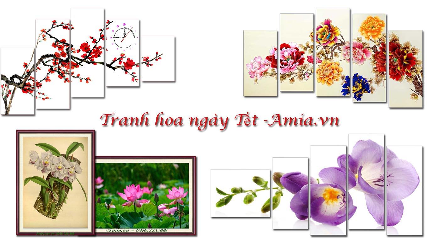 tranh hoa ngay tet trang tri ngoi nha