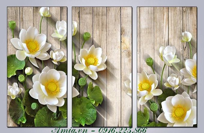 tranh treo tuong phong khach 3d hoa sen trang