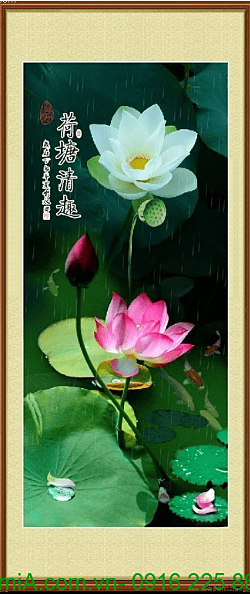 tranh tet nguyen dan hoa sen trang