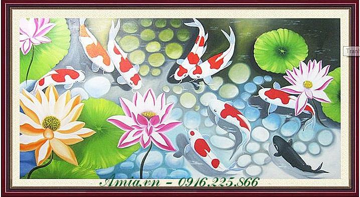 tranh hoa sen ca chep trang tri phong khach