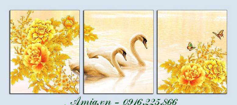 tranh treo phong khach gia re doi chim thien nga