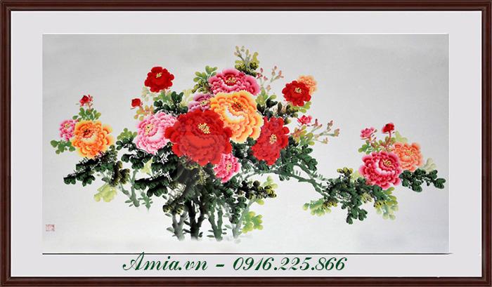 tranh hoa mau don kho mot tam trang tri phong khach