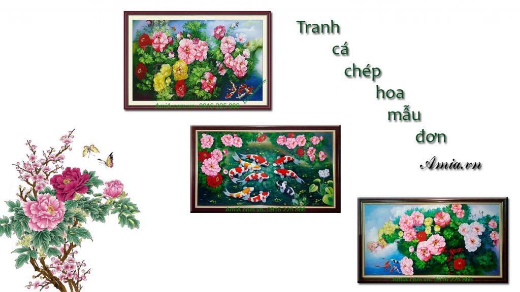 tranh ca chep hoa mau don lam qua tang tan gia