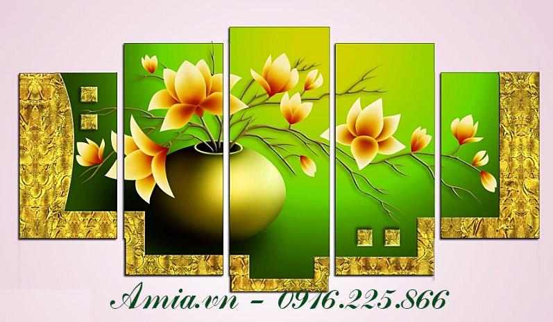 tranh binh hoa sen dat trang tri phong khach dep