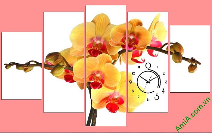 tranh hoa lan treo tet dem lai may man cho gia chu