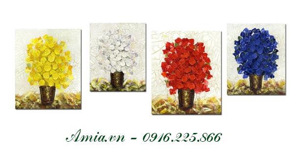 tranh treo tuong phong khach nho hoa bon mua