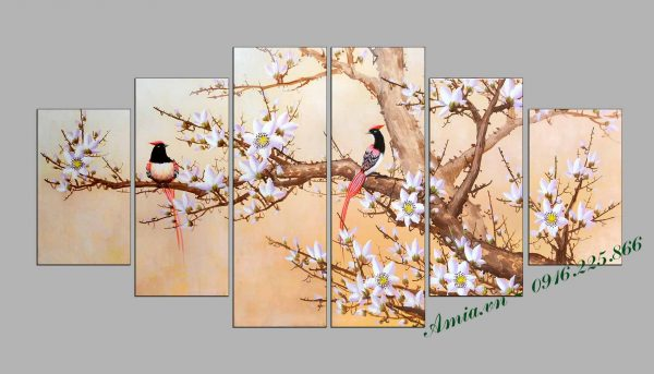 tranh xuan doi chim sum vay dep