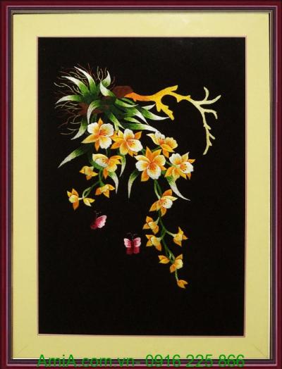 tranh theu tang qua cuoi hoa lan trang tri phong