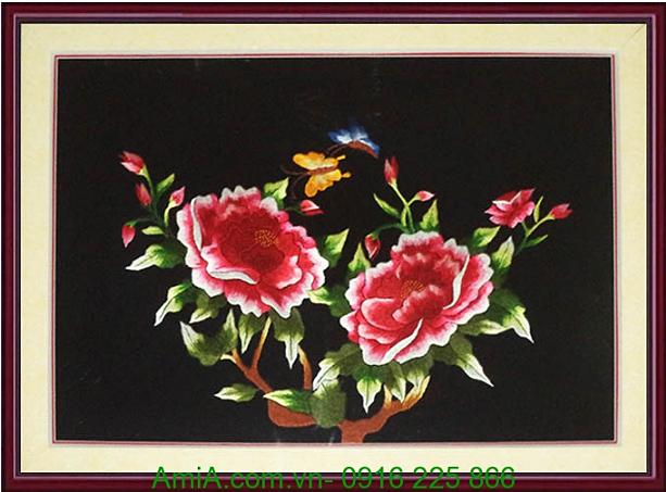 tranh theu chuc tet hoa mau don