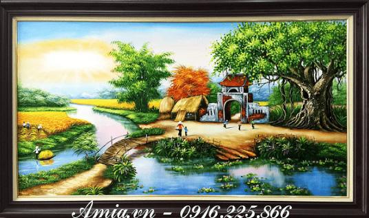 tranh ve tet phong canh que huong
