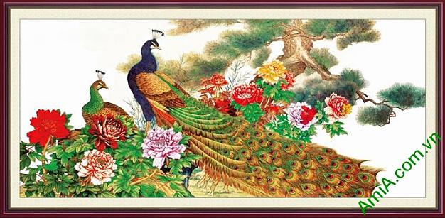 tranh phu quy chim cong va hoa mau don cho nguoi tuoi tuat
