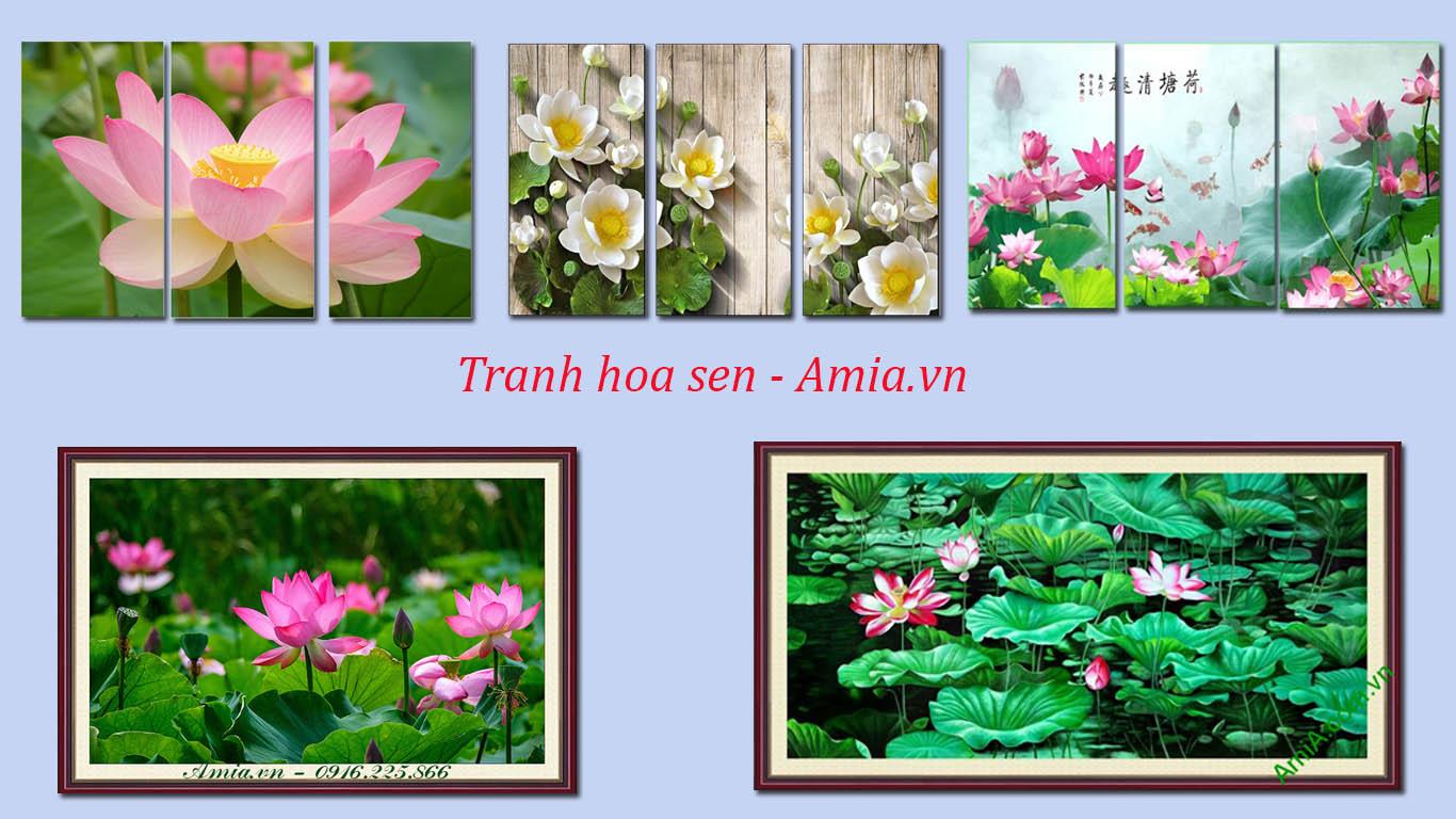 tranh phong thuy hoa sen dep