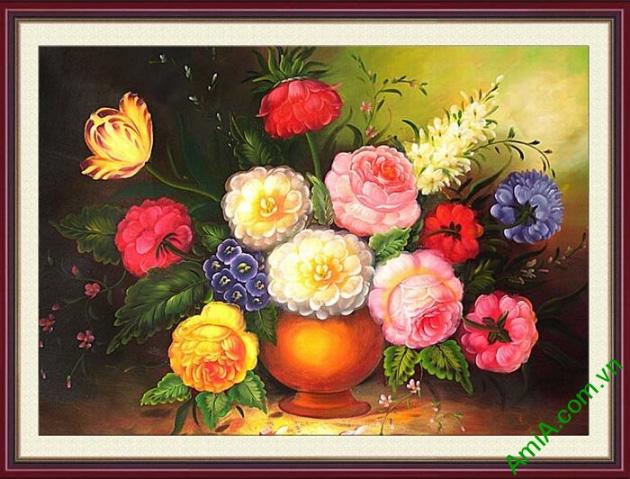 tranh treo tuong phong khach binh hoa hong