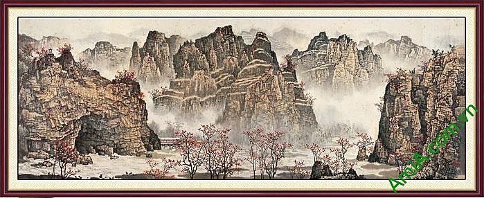 tranh den trang phong canh doi nui hung vi