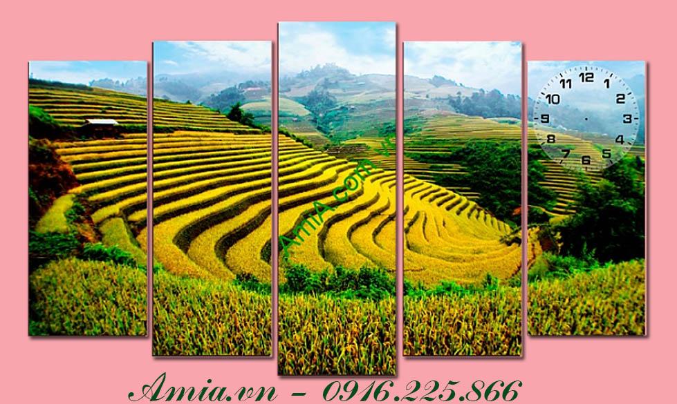 tranh ghep bo phong canh ruong lua bac thang