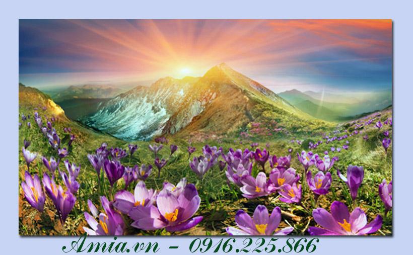 tranh mot tam phong canh hoa tren nui