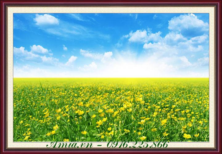 tranh phong canh binh minh tren dong hoa vang