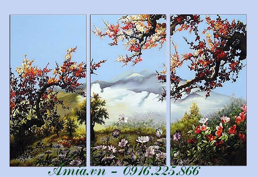 tranh phong canh doi nui va hoa nghe thuat trang tri